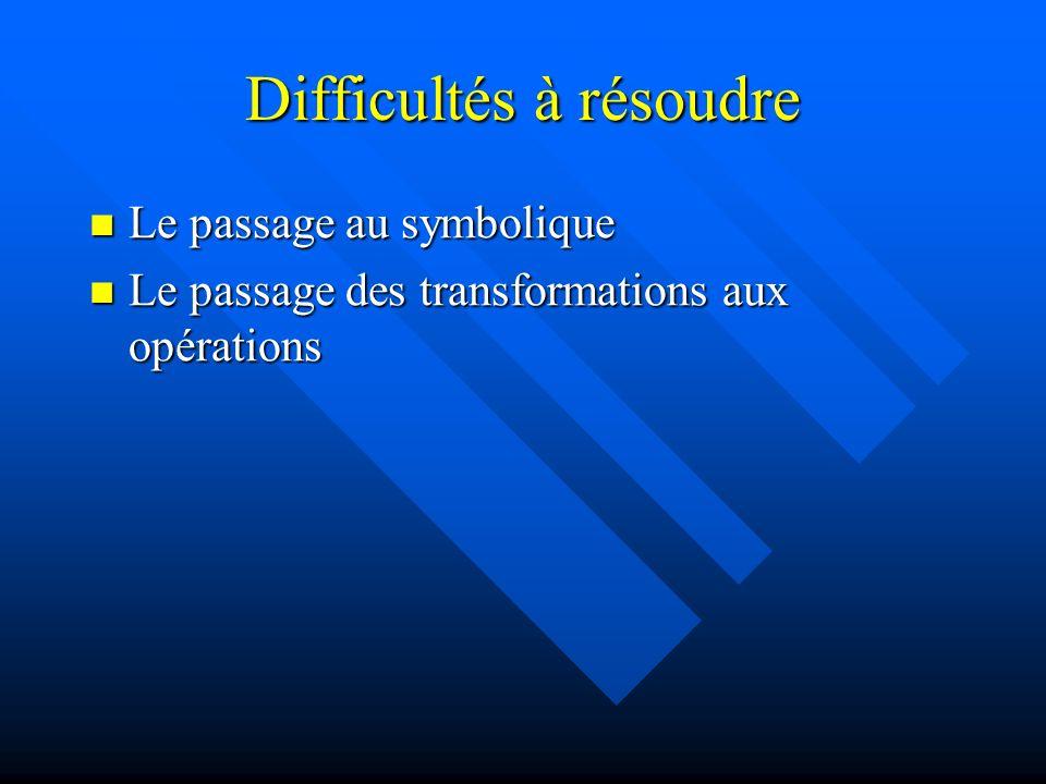 Difficultés à résoudre Le passage au symbolique Le passage au symbolique Le passage des transformations aux opérations Le passage des transformations aux opérations