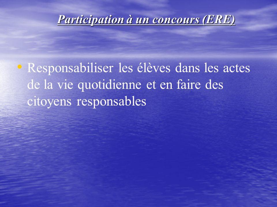 Responsabiliser les élèves dans les actes de la vie quotidienne et en faire des citoyens responsables Participation à un concours (ERE)