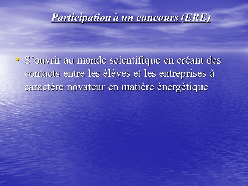 Souvrir au monde scientifique en créant des contacts entre les élèves et les entreprises à caractère novateur en matière énergétique Souvrir au monde scientifique en créant des contacts entre les élèves et les entreprises à caractère novateur en matière énergétique Participation à un concours (ERE)