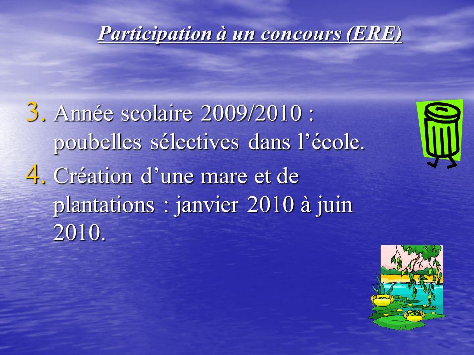3.Année scolaire 2009/2010 : poubelles sélectives dans lécole.