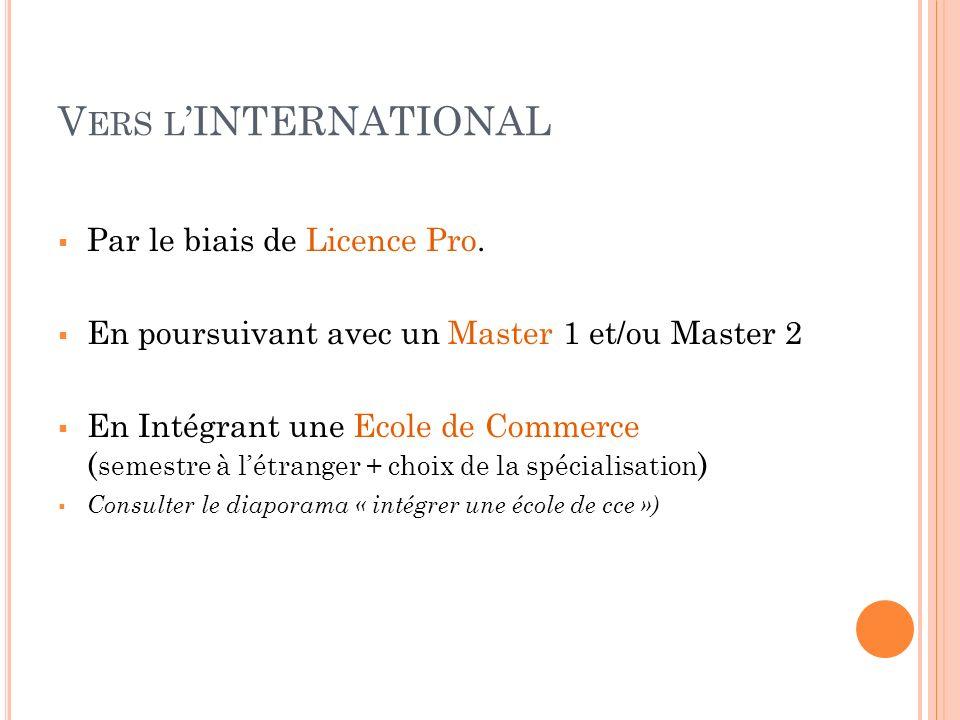 V ERS L INTERNATIONAL Par le biais de Licence Pro. En poursuivant avec un Master 1 et/ou Master 2 En Intégrant une Ecole de Commerce ( semestre à létr
