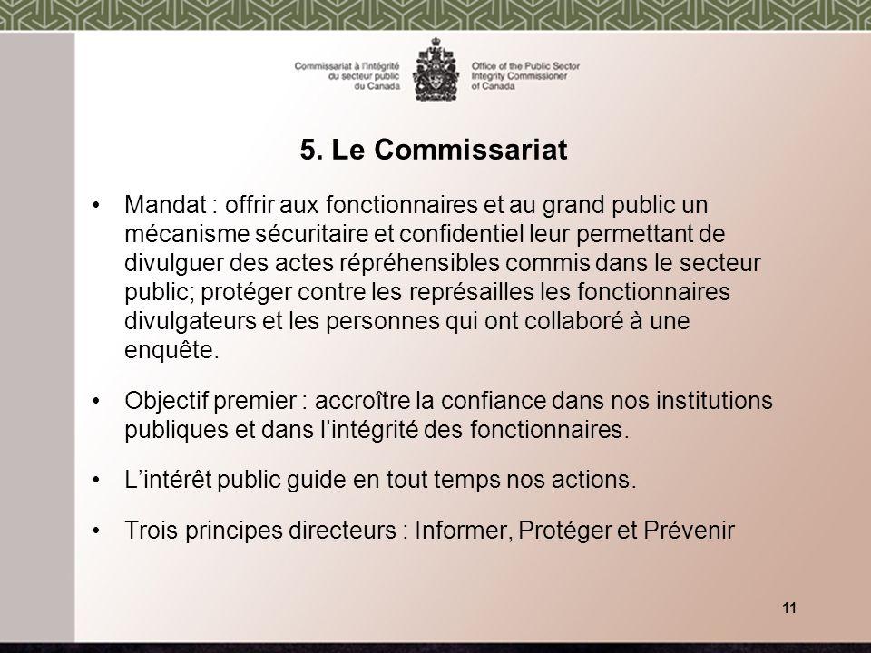 5. Le Commissariat Mandat : offrir aux fonctionnaires et au grand public un mécanisme sécuritaire et confidentiel leur permettant de divulguer des act
