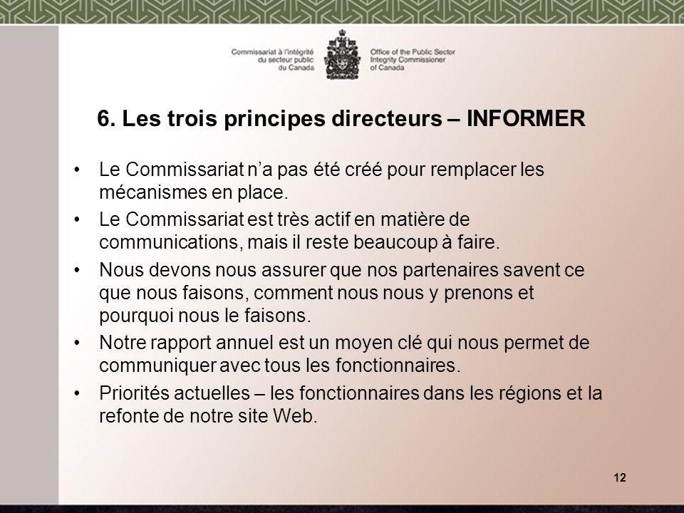 6. Les trois principes directeurs – INFORMER Le Commissariat na pas été créé pour remplacer les mécanismes en place. Le Commissariat est très actif en
