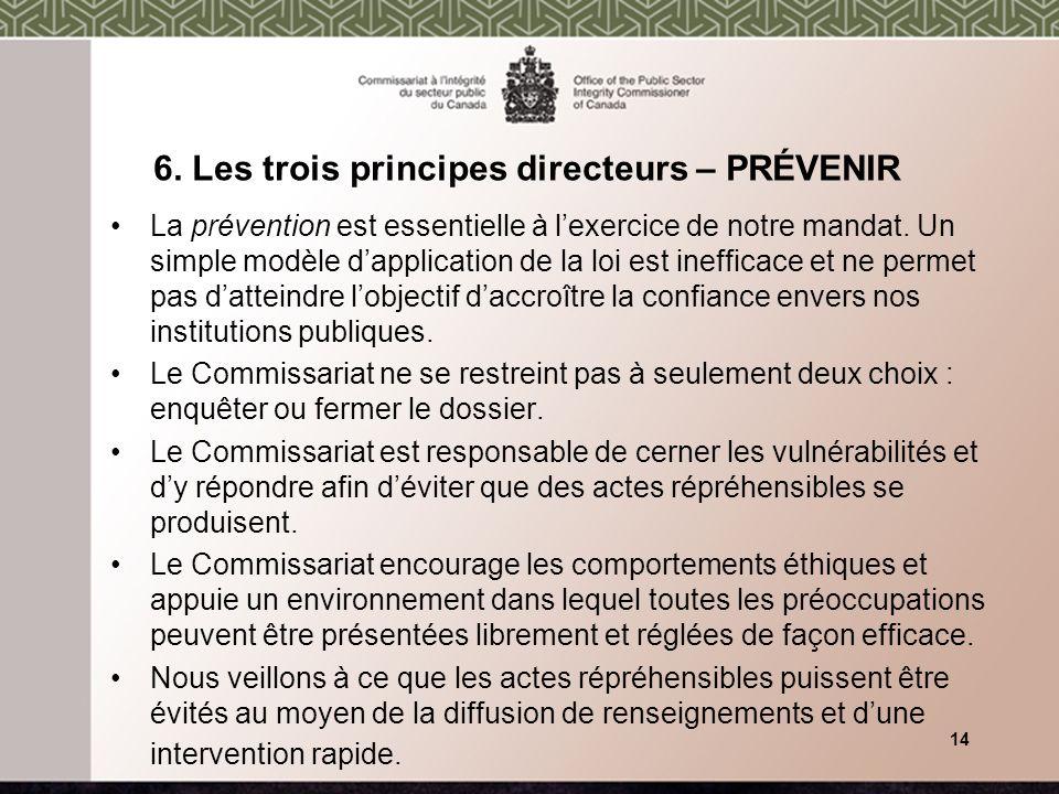 6. Les trois principes directeurs – PRÉVENIR La prévention est essentielle à lexercice de notre mandat. Un simple modèle dapplication de la loi est in