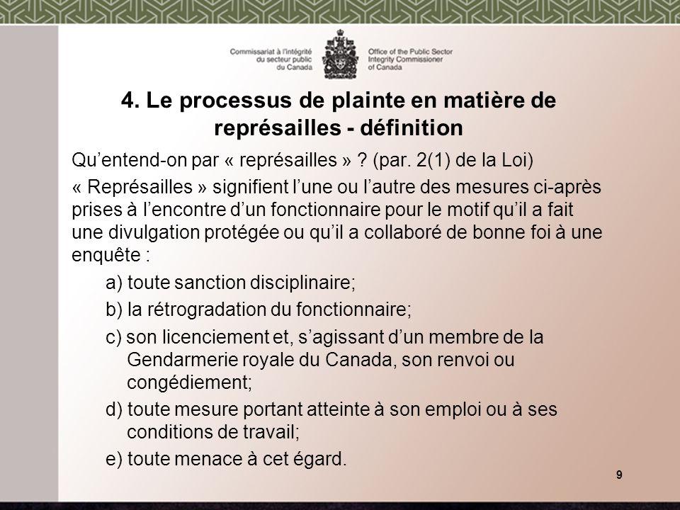 4. Le processus de plainte en matière de représailles - définition Quentend-on par « représailles » ? (par. 2(1) de la Loi) « Représailles » signifien