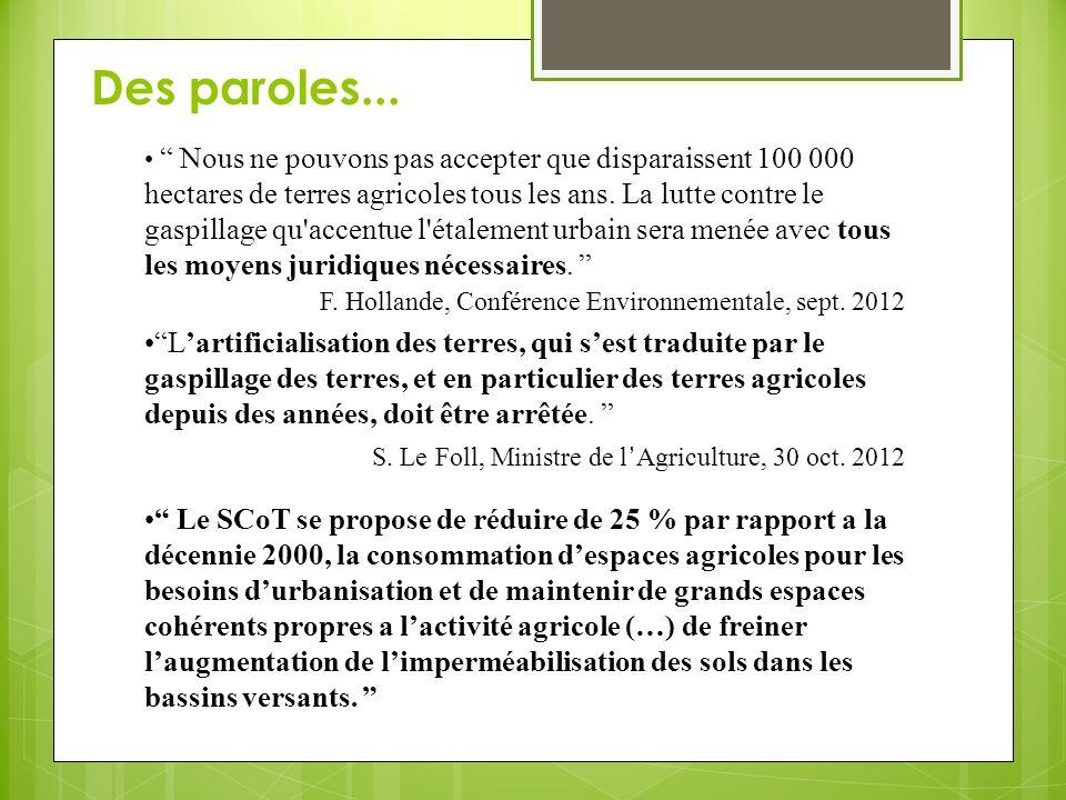 …et des ZAC Imperméabilisation et terrassement de 20 hectares de terres agricoles Ex-urbanisation et agrandissement des deux moyennes surfaces implantées en centre bourg Quels impacts?