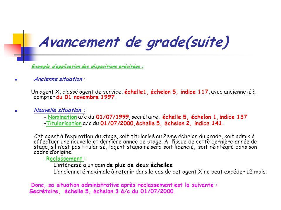 Avancement de grade(suite) Exemple dapplication des dispositions précitées : Ancienne situation : Un agent X, classé agent de service, échelle1, échel