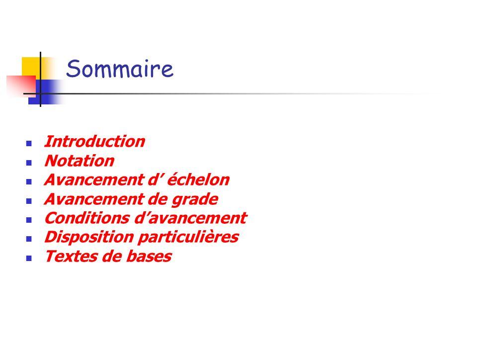 Sommaire Introduction Notation Avancement d échelon Avancement de grade Conditions davancement Disposition particulières Textes de bases