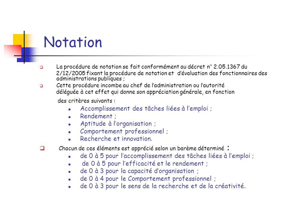 Notation La procédure de notation se fait conformément au décret n° 2.05.1367 du 2/12/2005 fixant la procédure de notation et dévaluation des fonction