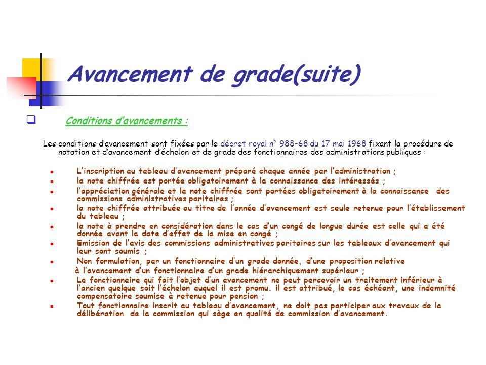 Avancement de grade(suite) Conditions davancements : Les conditions davancement sont fixées par le décret royal n° 988-68 du 17 mai 1968 fixant la pro