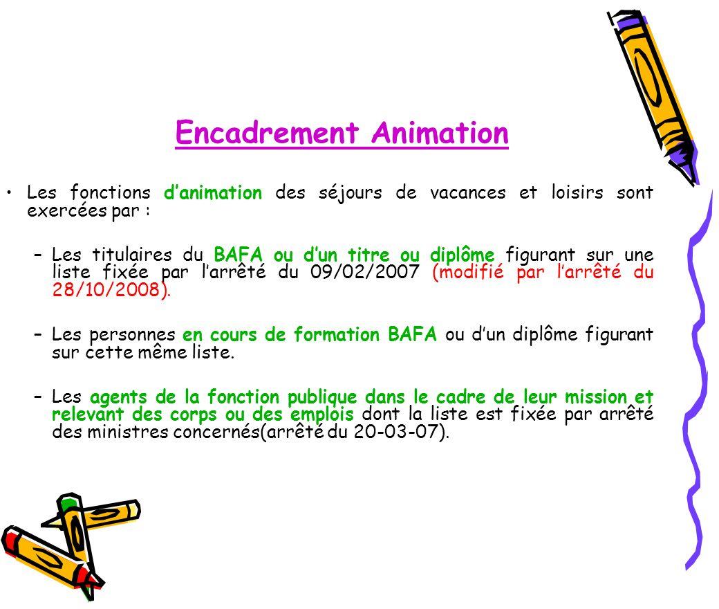 Encadrement Animation Les fonctions danimation des séjours de vacances et loisirs sont exercées par : –Les titulaires du BAFA ou dun titre ou diplôme
