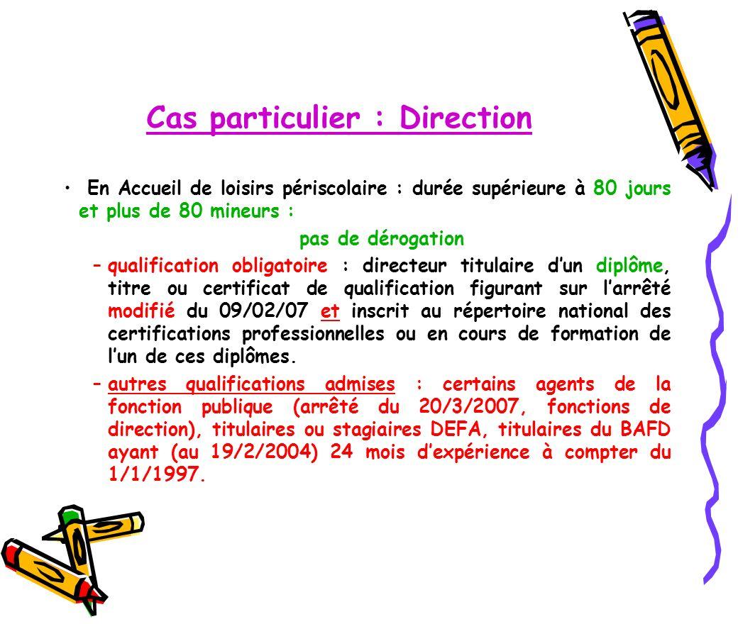 Dispositions particulières pour les accueils de scoutisme Arrêté du 21/05/2007 modifié par larrêté du 2/11/2009.