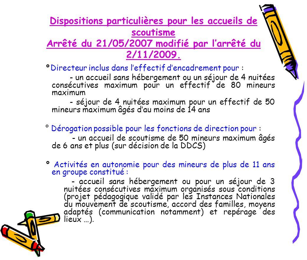 Dispositions particulières pour les accueils de scoutisme Arrêté du 21/05/2007 modifié par larrêté du 2/11/2009. °Directeur inclus dans leffectif denc