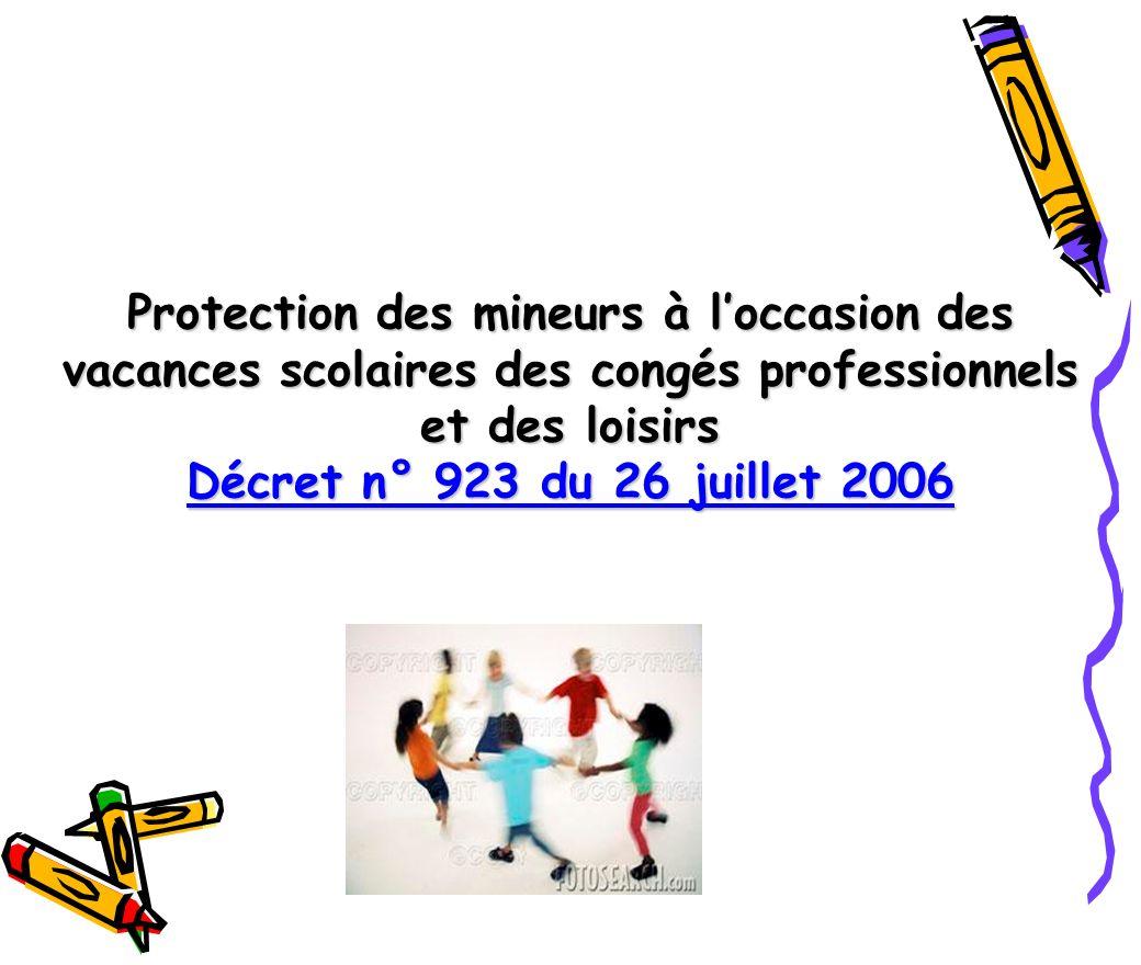 Protection des mineurs à loccasion des vacances scolaires des congés professionnels et des loisirs Décret n° 923 du 26 juillet 2006