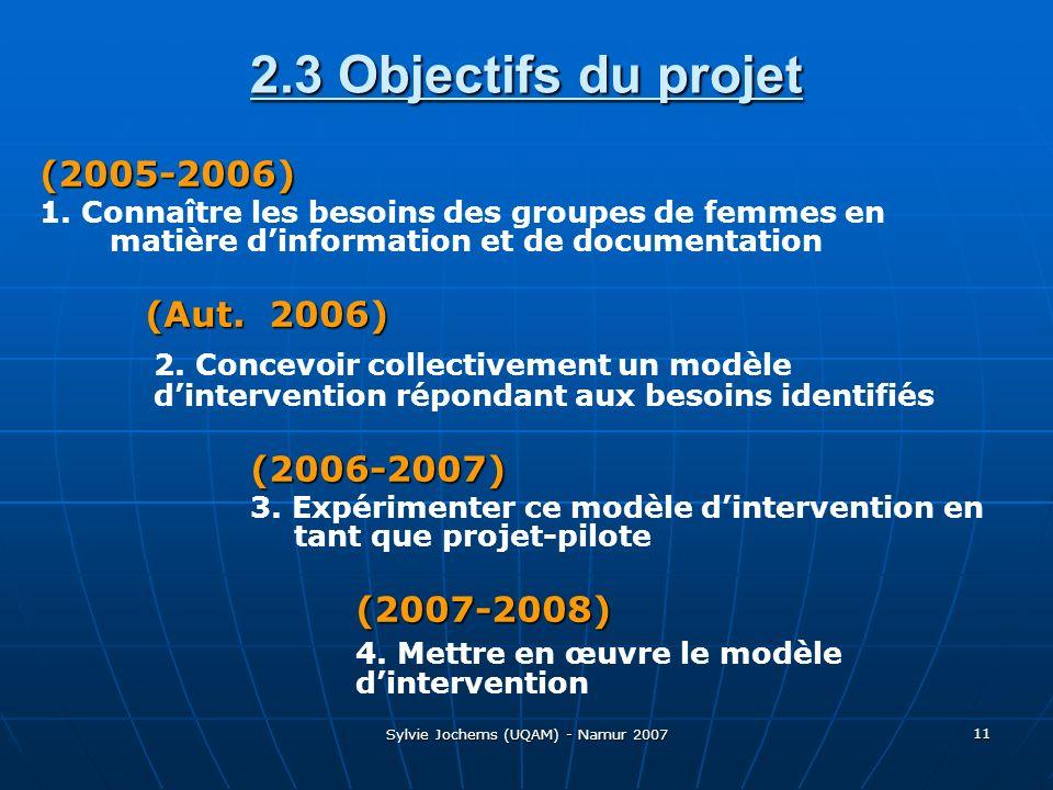 Sylvie Jochems (UQAM) - Namur 2007 11 2.3 Objectifs du projet (2005-2006) 1.