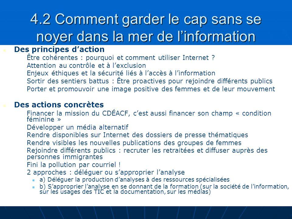 Sylvie Jochems (UQAM) - Namur 2007 24 4.2 Comment garder le cap sans se noyer dans la mer de linformation Des principes daction Être cohérentes : pourquoi et comment utiliser Internet .