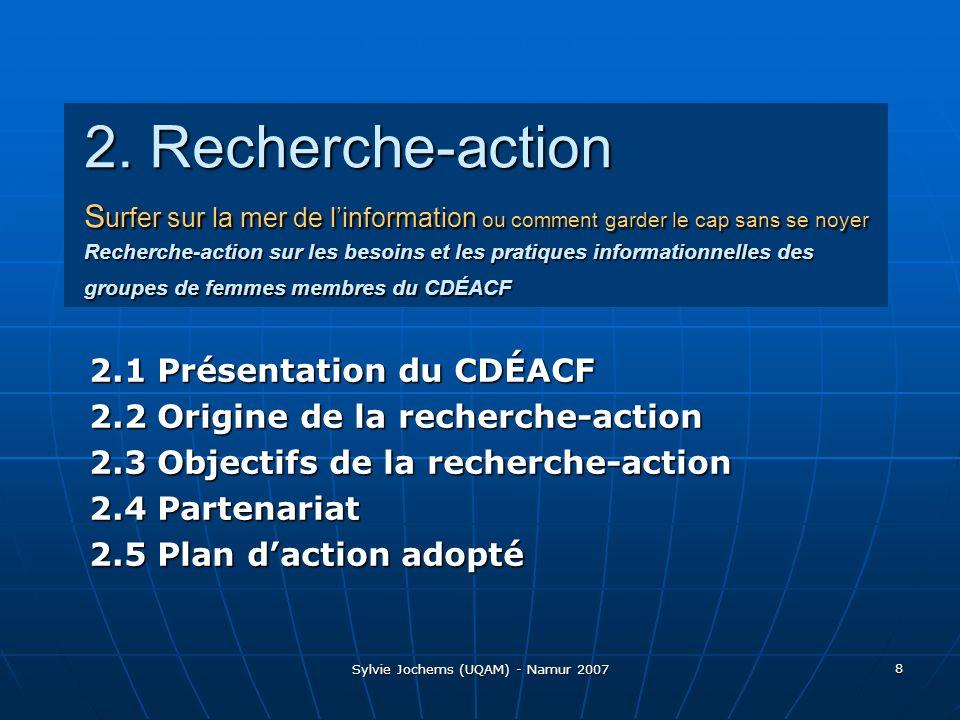 Sylvie Jochems (UQAM) - Namur 2007 9 2.1 Présentation du CDÉACF Centre de documentation sur léducation des adultes et la condition féminine (1983-...) Visée: « Dans une perspective de démocratisation des connaissances, de reconnaissance du droit à linformation et de valorisation du patrimoine communautaire québécois (…) »« Dans une perspective de démocratisation des connaissances, de reconnaissance du droit à linformation et de valorisation du patrimoine communautaire québécois (…) » Mission: « (…) le CDÉACF est un carrefour déchanges et un espace dexpression qui a pour fonction de collecter, diffuser, promouvoir et rendre accessibles, en français, les savoirs et savoir-faire des différents milieux de léducation des adultes, de lalphabétisation et de la condition féminine du Québec et des communautés francophones du Canada ».« (…) le CDÉACF est un carrefour déchanges et un espace dexpression qui a pour fonction de collecter, diffuser, promouvoir et rendre accessibles, en français, les savoirs et savoir-faire des différents milieux de léducation des adultes, de lalphabétisation et de la condition féminine du Québec et des communautés francophones du Canada ».