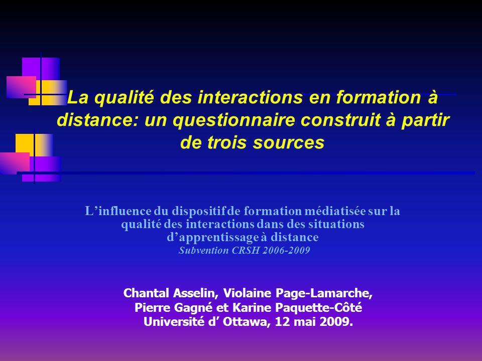 La qualité des interactions en formation à distance: un questionnaire construit à partir de trois sources Linfluence du dispositif de formation médiat