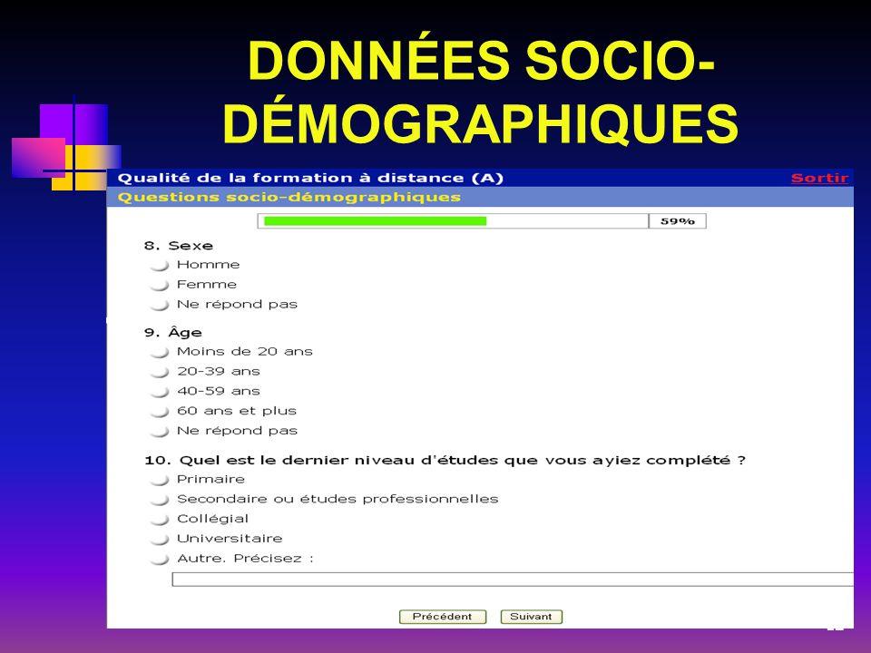 DONNÉES SOCIO- DÉMOGRAPHIQUES 12