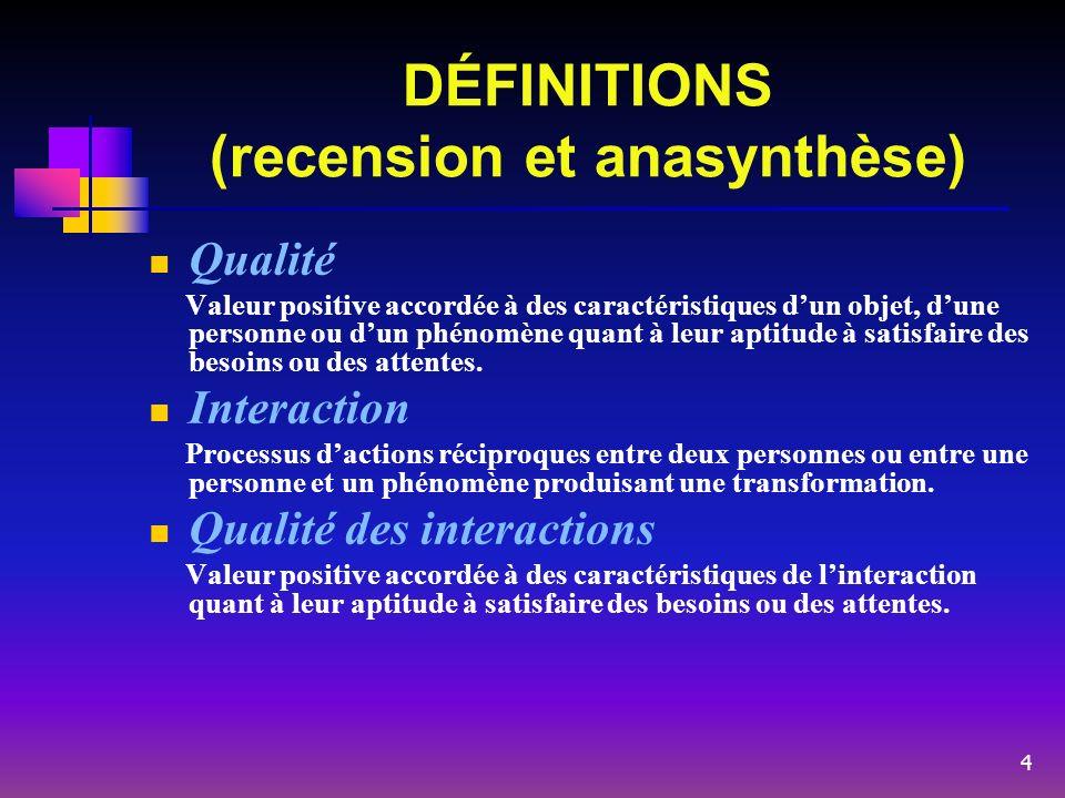 DÉFINITIONS (recension et anasynthèse) Qualité Valeur positive accordée à des caractéristiques dun objet, dune personne ou dun phénomène quant à leur