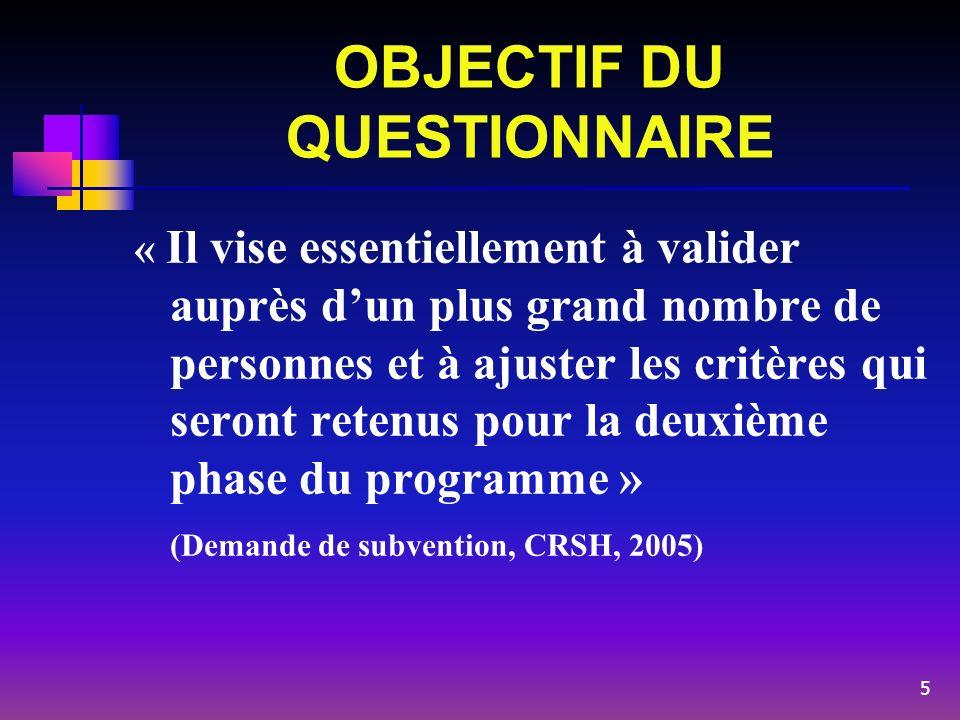 OBJECTIF DU QUESTIONNAIRE « Il vise essentiellement à valider auprès dun plus grand nombre de personnes et à ajuster les critères qui seront retenus p