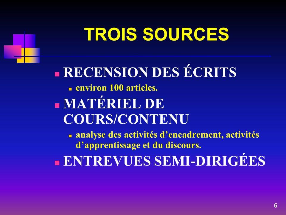 TROIS SOURCES RECENSION DES ÉCRITS environ 100 articles. MATÉRIEL DE COURS/CONTENU analyse des activités dencadrement, activités dapprentissage et du