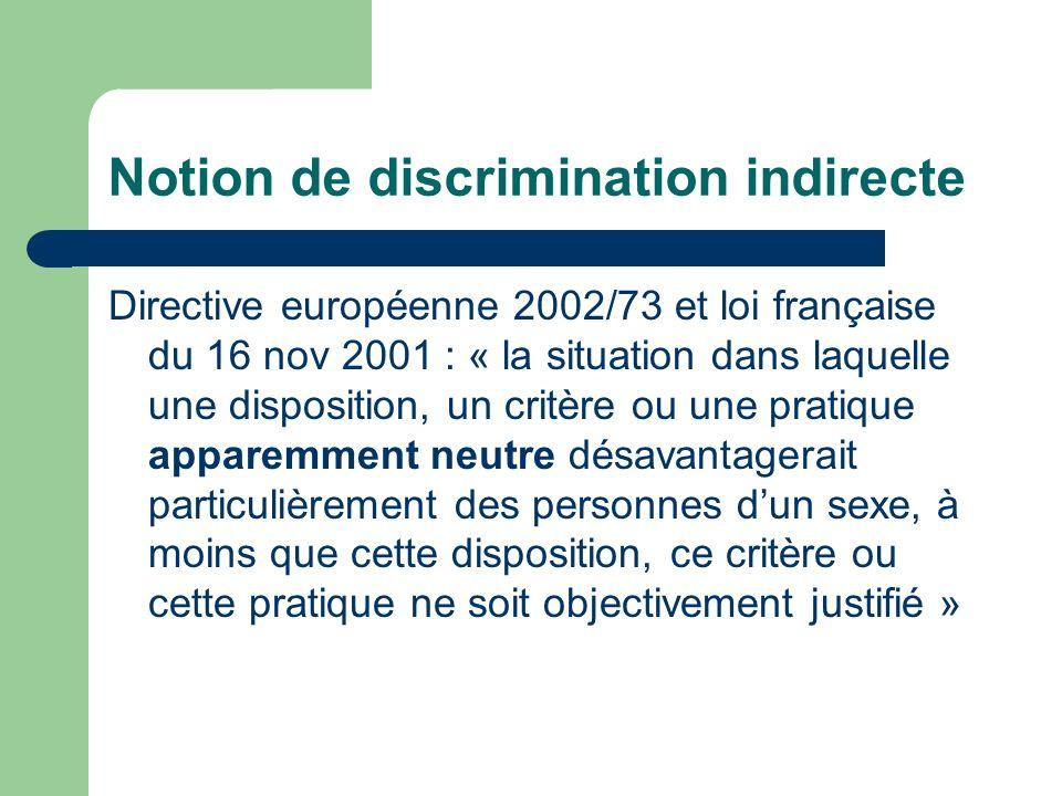 Notion de discrimination indirecte Directive européenne 2002/73 et loi française du 16 nov 2001 : « la situation dans laquelle une disposition, un critère ou une pratique apparemment neutre désavantagerait particulièrement des personnes dun sexe, à moins que cette disposition, ce critère ou cette pratique ne soit objectivement justifié »