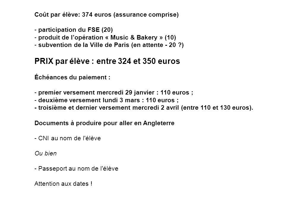 Coût par élève: 374 euros (assurance comprise) - participation du FSE (20) - produit de lopération « Music & Bakery » (10) - subvention de la Ville de