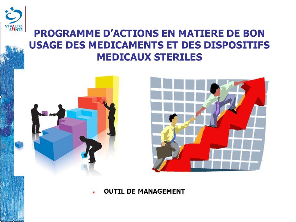 PROGRAMME DACTIONS EN MATIERE DE BON USAGE DES MEDICAMENTS ET DES DISPOSITIFS MEDICAUX STERILES OUTIL DE MANAGEMENT