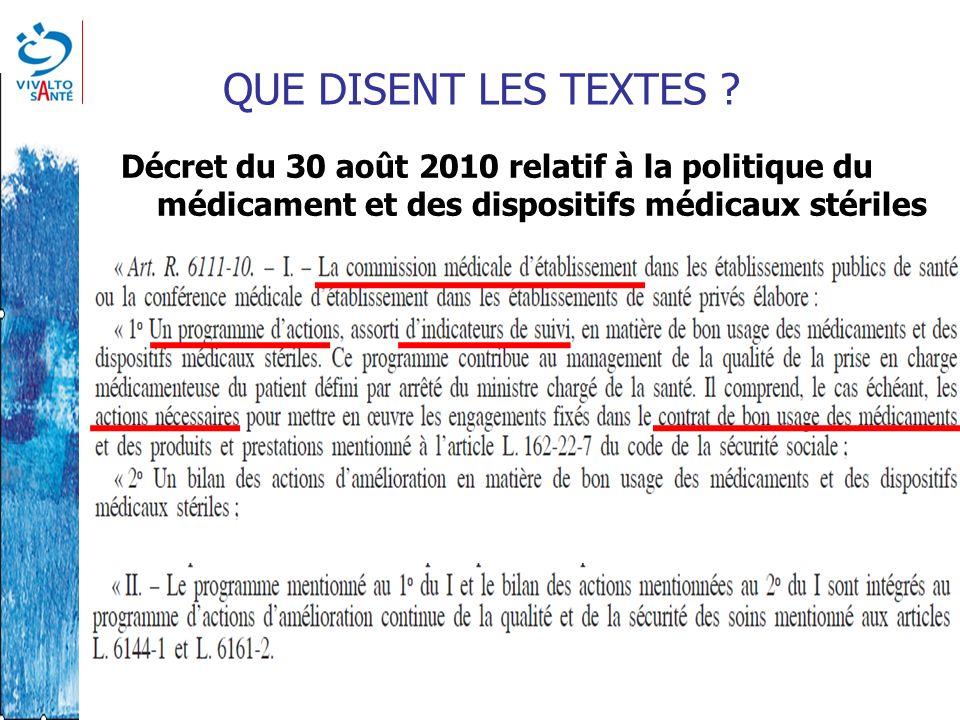 QUE DISENT LES TEXTES ? Décret du 30 août 2010 relatif à la politique du médicament et des dispositifs médicaux stériles
