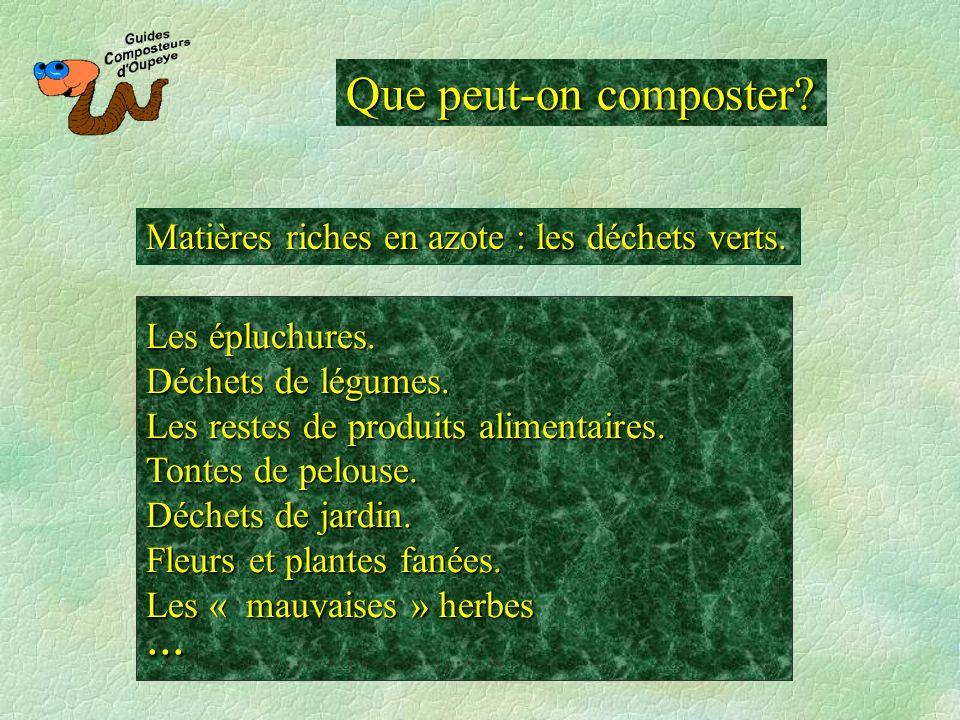 Que peut-on composter? Matières riches en azote : les déchets verts. Les épluchures. Déchets de légumes. Les restes de produits alimentaires. Tontes d