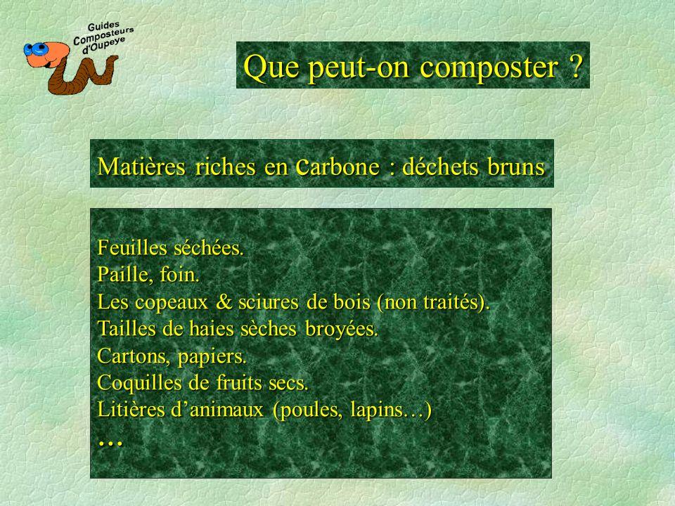 Que peut-on composter ? Matières riches en c arbone : déchets bruns Feuilles séchées. Paille, foin. Les copeaux & sciures de bois (non traités). Taill