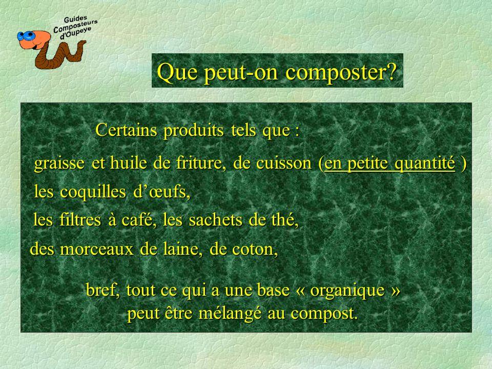 Que peut-on composter? bref, tout ce qui a une base « organique » peut être mélangé au compost. des morceaux de laine, de coton, Certains produits tel