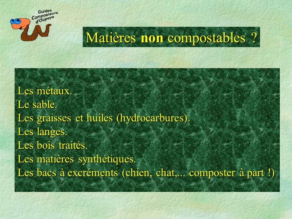 Matières non compostables ? Les métaux. Le sable. Les graisses et huiles (hydrocarbures). Les langes. Les bois traités. Les matières synthétiques. Les