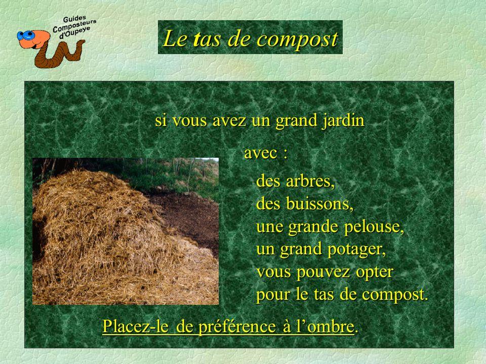Le tas de compost des arbres, des buissons, une grande pelouse, un grand potager, vous pouvez opter pour le tas de compost. si vous avez un grand jard