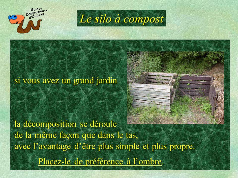 Le silo à compost la décomposition se déroule de la même façon que dans le tas, avec lavantage dêtre plus simple et plus propre. si vous avez un grand