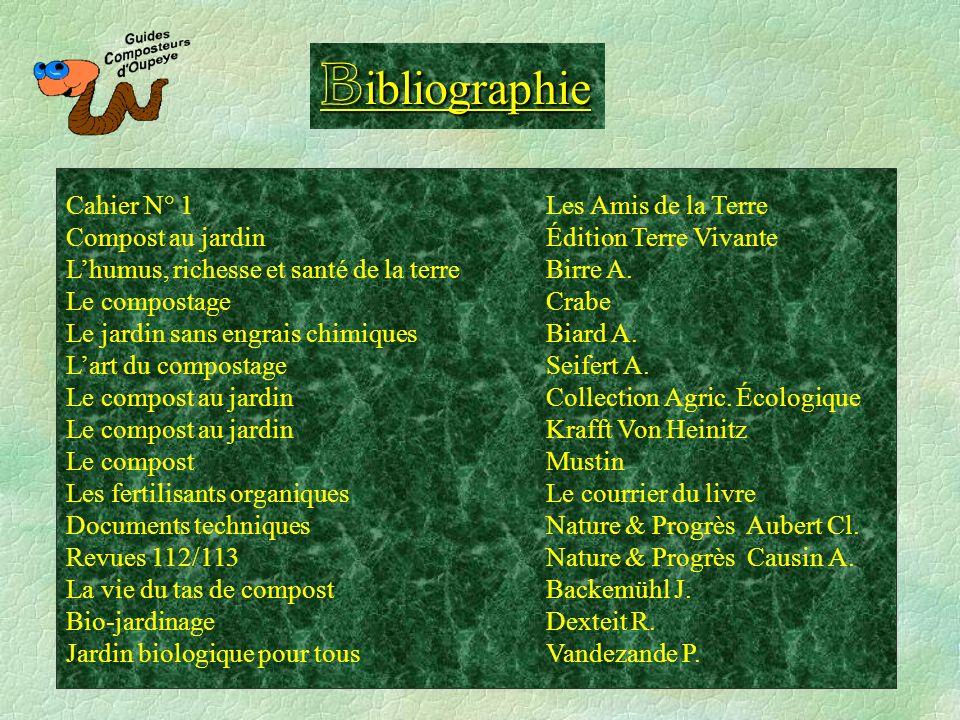 B ibliographie Cahier N° 1 Les Amis de la Terre Compost au jardinÉdition Terre Vivante Lhumus, richesse et santé de la terreBirre A. Le compostageCrab