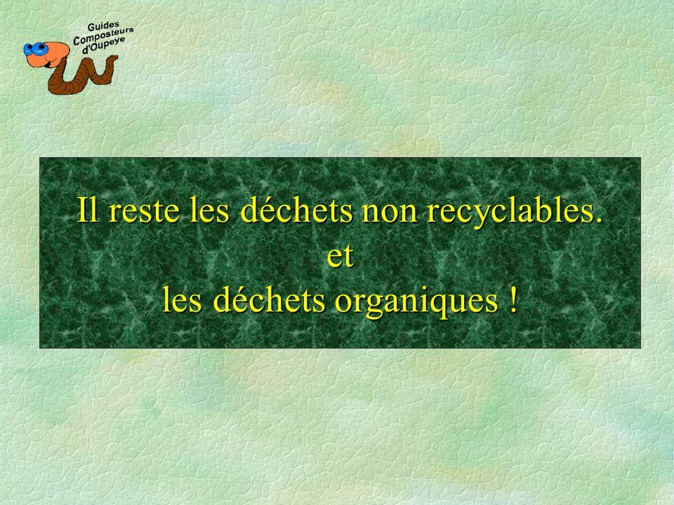 Il reste les déchets non recyclables. et les déchets organiques !