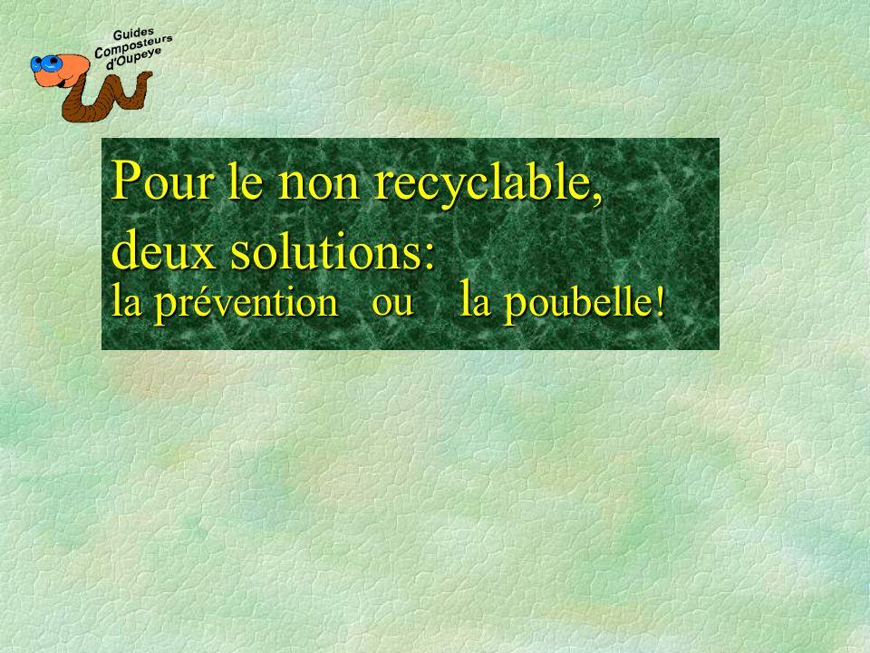 P our P our le n on n on r ecyclable, d eux d eux s olutions: l a p oubelle! l a p révention ou
