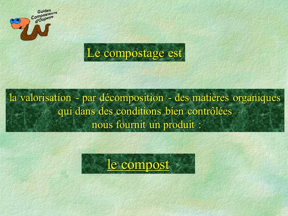 Le compostage est la valorisation - par décomposition - des matières organiques qui dans des conditions bien contrôlées nous fournit un produit : le c
