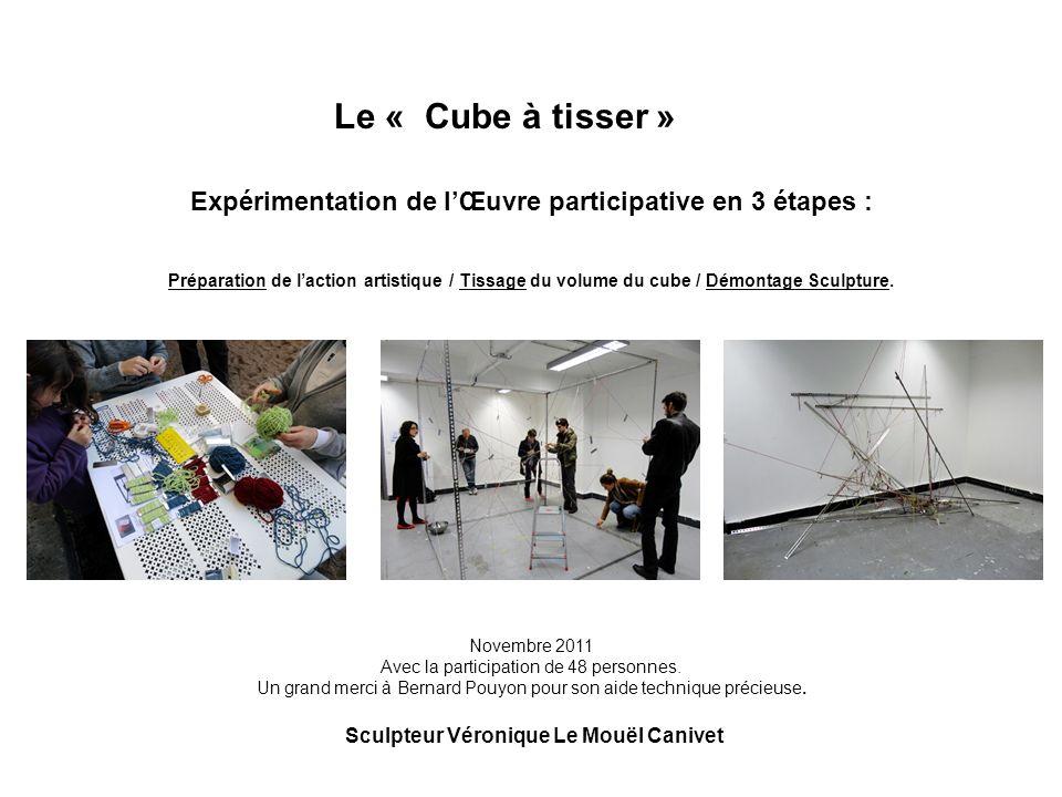 Expérimentation de lŒuvre participative en 3 étapes : Préparation de laction artistique / Tissage du volume du cube / Démontage Sculpture. Novembre 20