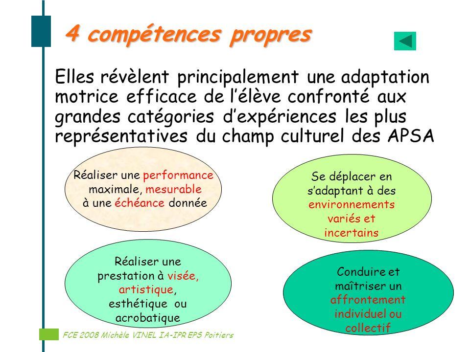 Réalisation Michèle VINEL IA-IPR EPS 4 compétences propres Elles révèlent principalement une adaptation motrice efficace de lélève confronté aux grand