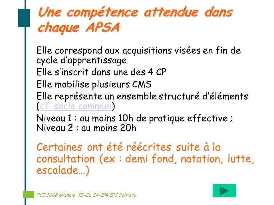 Réalisation Michèle VINEL IA-IPR EPS Une compétence attendue dans chaque APSA FCE 2008 Michèle VINEL IA-IPR EPS Poitiers Elle correspond aux acquisiti