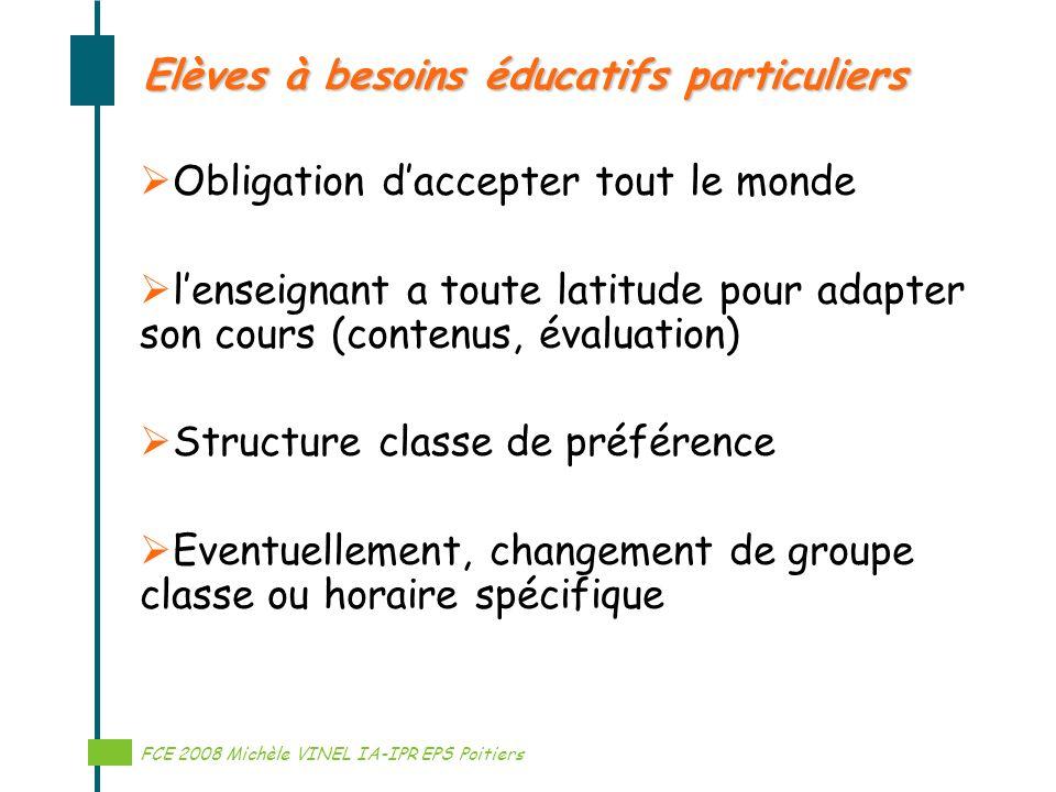 Réalisation Michèle VINEL IA-IPR EPS Elèves à besoins éducatifs particuliers Obligation daccepter tout le monde lenseignant a toute latitude pour adap