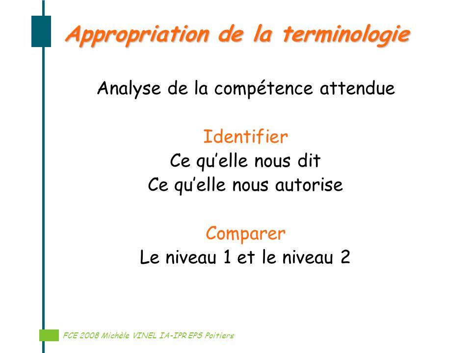 Réalisation Michèle VINEL IA-IPR EPS Appropriation de la terminologie Analyse de la compétence attendue Identifier Ce quelle nous dit Ce quelle nous a