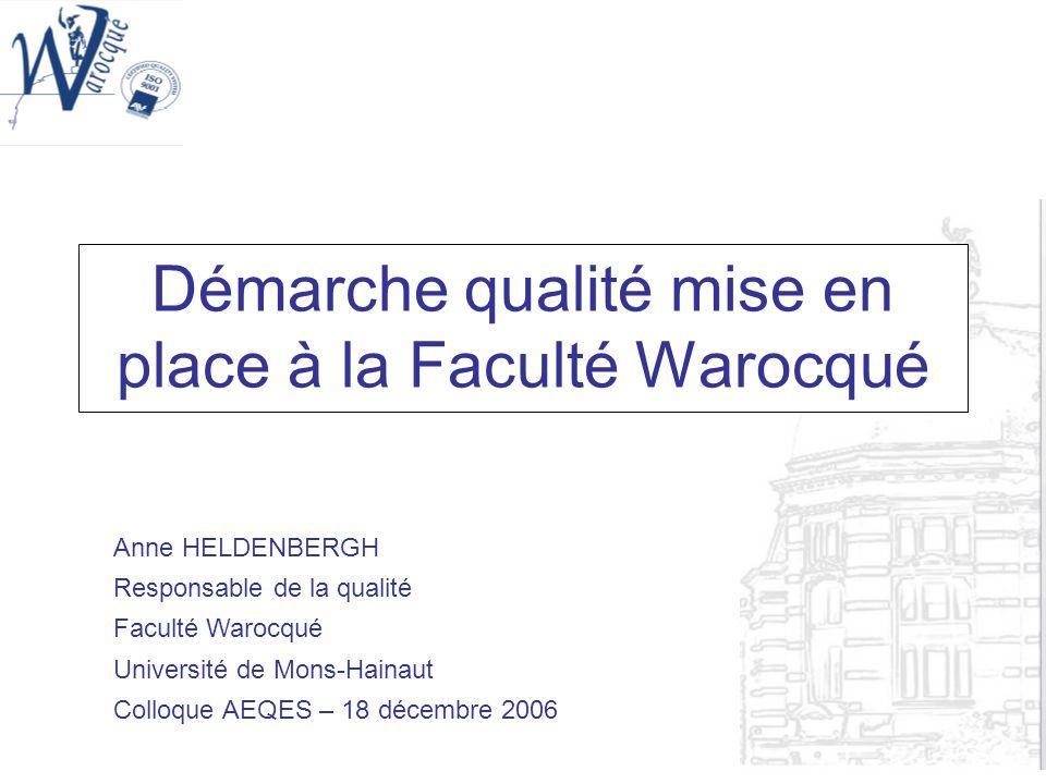 Démarche qualité mise en place à la Faculté Warocqué Anne HELDENBERGH Responsable de la qualité Faculté Warocqué Université de Mons-Hainaut Colloque A
