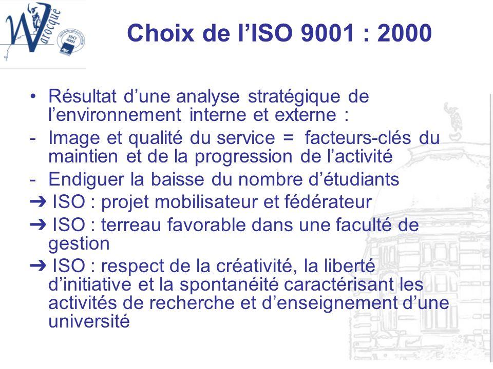 Choix de lISO 9001 : 2000 Résultat dune analyse stratégique de lenvironnement interne et externe : -Image et qualité du service = facteurs-clés du mai