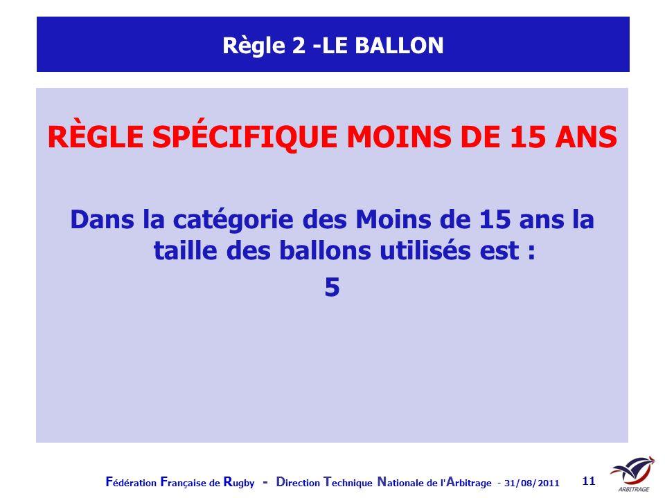 F édération F rançaise de R ugby - D irection T echnique N ationale de l' A rbitrage - 31/08/2011 11 Règle 2 -LE BALLON RÈGLE SPÉCIFIQUE MOINS DE 15 A