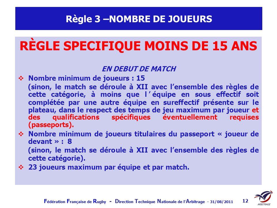 F édération F rançaise de R ugby - D irection T echnique N ationale de l' A rbitrage - 31/08/2011 12 Règle 3 –NOMBRE DE JOUEURS RÈGLE SPECIFIQUE MOINS