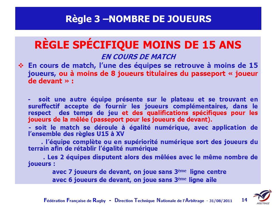 F édération F rançaise de R ugby - D irection T echnique N ationale de l' A rbitrage - 31/08/2011 14 Règle 3 –NOMBRE DE JOUEURS RÈGLE SPÉCIFIQUE MOINS